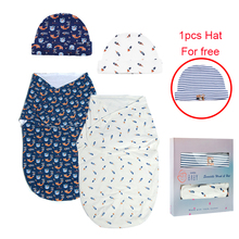 Swaddle-Set Blankets Wrap Sleeping-Bag 2-Pack Cotton with Babies 0-3-Months Boys