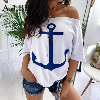 European leisure boat anchor print women's T-shirt summer new fashion off shoulder short sleeve shirt grey slit design off the shoulder t shirt