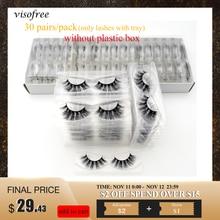 30/40/100/pairs Visofree rzęsy z norek z tacą bez pudełka ręcznie naturalne sztuczne rzęsy pełny pasek rzęsy wielokrotnego użytku długie rzęsy