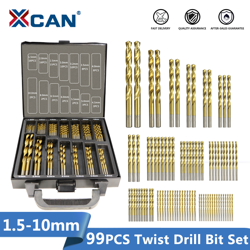XCAN 99 Pieces Diameter From 1.5mm To 10mm Titanium Coating HSS P6M5 Twist Drill Bit Set