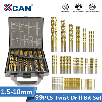 XCAN 99 Pieces Diameter From 1.5mm to 10mm Titanium Coating HSS P6M5 Twist Drill Bit Set machine drill sturm bd7045 power 450 w cartridge from 0 to 16mm speed from 280 to 2350 rpm