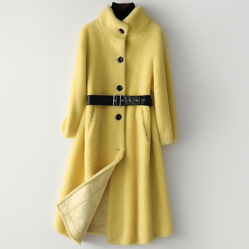 Winter Women Golden Long Thick Warm Woolen Slim Real Fur Coats Fur Fall Jackets Sashes Wool Overcoat Sheepskin Solid Outerwear