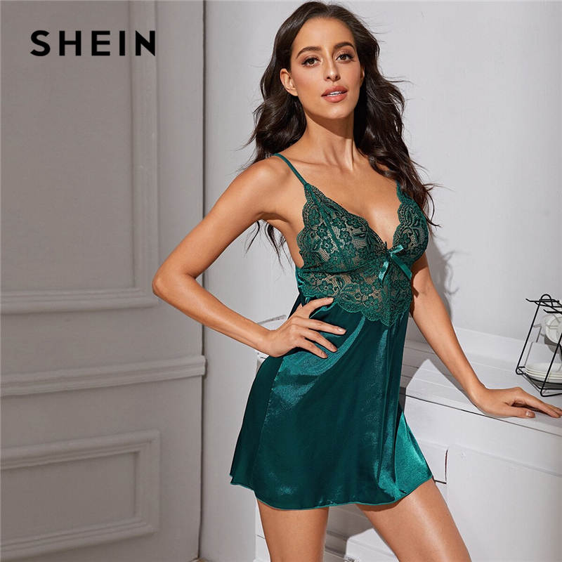 SHEIN Green Contrast Lace Satin Sexy Dress With Thong Women Nightwear Spring Deep V Neck Sleeveless Ladies Sexy Sleep Dresses