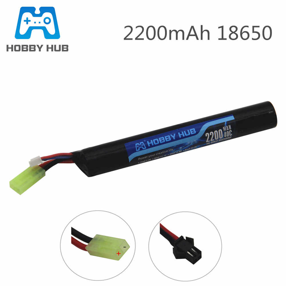Hobi Hub Power Baterai Lipo Airsoft Gun Battery 18650 7.4V 2200 MAh 40C Akku Mini Airsoft Mainan Gun Battery bagian Model 18650