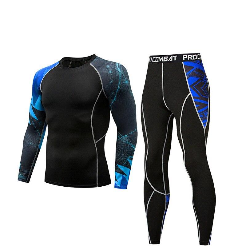 Men's Fitness Thermal Underwear Compression Men's T-shirt + Tights Cold Winter Underwear Men's Running Sportswear Quality Suit