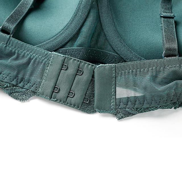 Varsbaby sexy one-piece transparent yarn lace underwear push up lace lingerie deep V black/dark green bra set