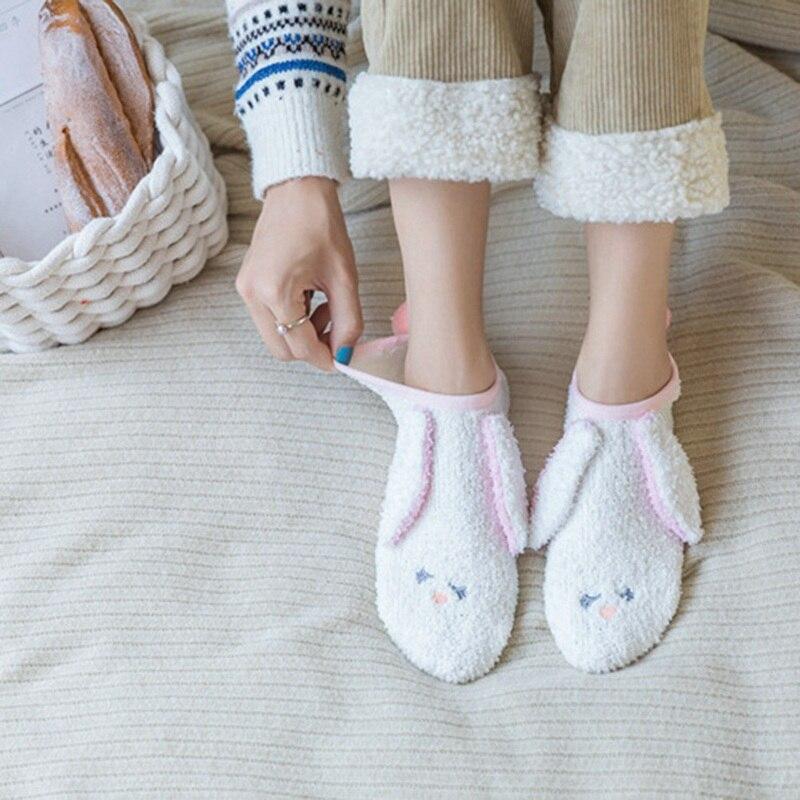 Autumn Winter Thick Coral Velvet Women Socks Cute Plush Cartoon Bear Rabbit Warm Ankle Socks Fashion Home Floor Sleep Socks