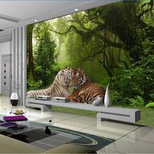 Большой заказ обои настенные Украшенные Лес Тигр джунгли гостиная диван фон стены