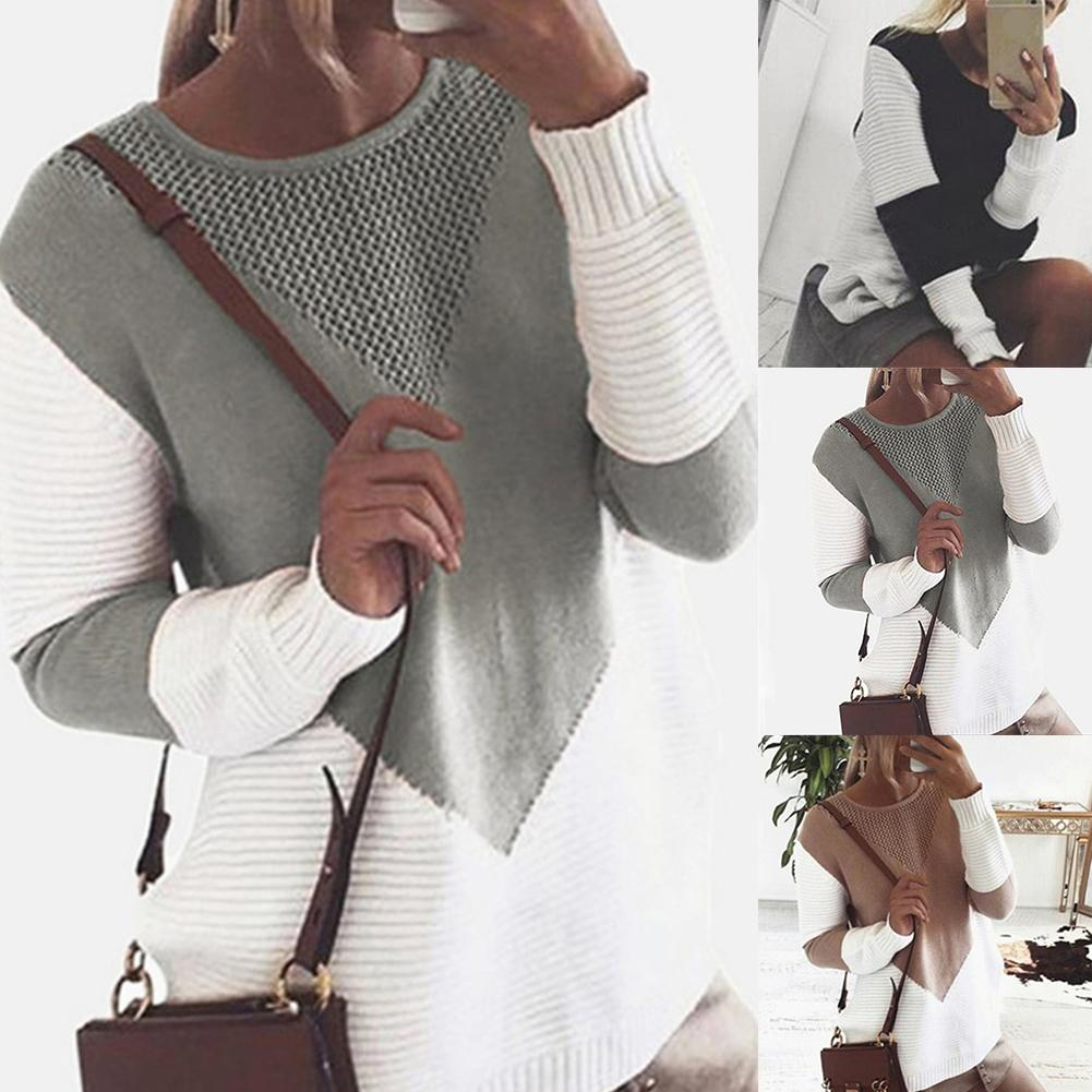New Multicolor Autumn Winter Women Sweater O-Neck Knitted Jumper Top Loose Casual Warm  Sweater Women  Patchwork Knitted Sweater