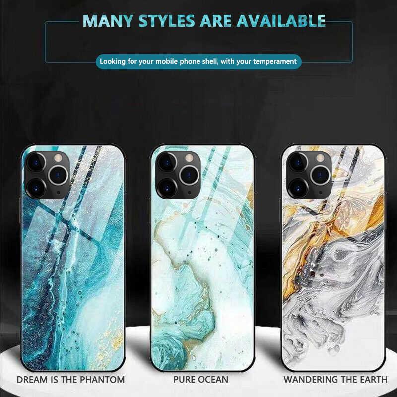 Coque キャパ iphone × XR ため XS 最大 8 7 6 6s プラス強化ガラス TPU ハード電話ケース豪華な大理石のため iphone 11 プロマックス
