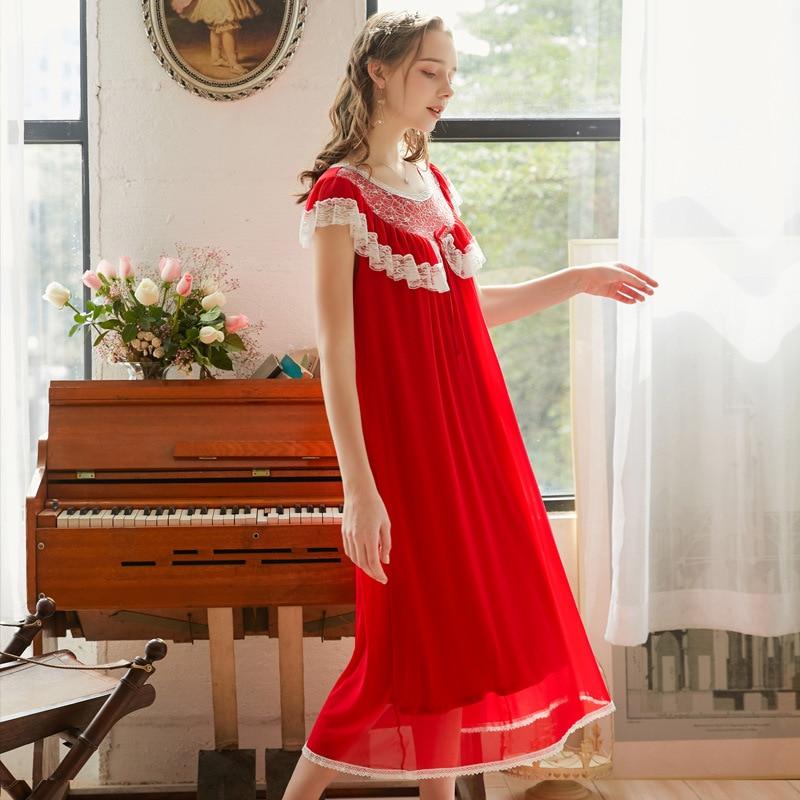 Summer Gauze Solid Women's Long Nightgowns Short Sleeve Modal Sleepwear Vintage Royal Princess Loose Sexy Night Dress