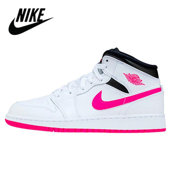 Nike Air Jordan 1 Mid White Black Hyper Pink Basketball Shoes Women's Basketball Sneakers Breathable Outdoor Nike Jordan 1 Mid