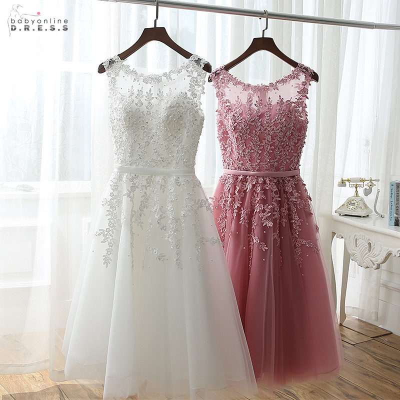 Robe-De-Soiree Party-Dresses Elegant Evening Lace Illusion Short Pearls With Pearls-Abendkleider