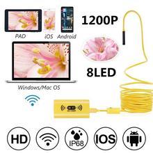 WIFI Endoscope Camera HD 1200P Mini Waterproof Hard Cable 2.0 Megapixels Inspection 8mm 6LED 12M/3.5M//5M USB