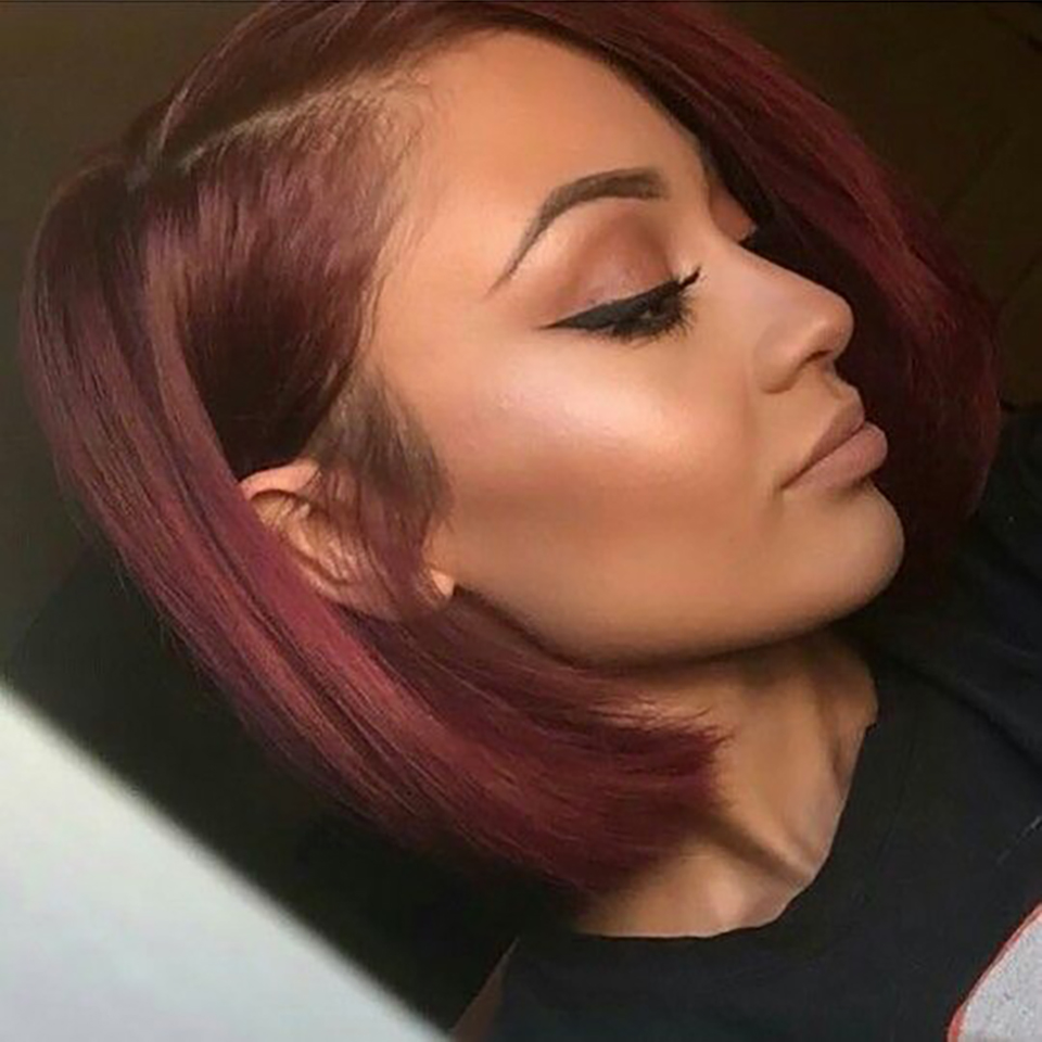 13X4 Frontal Lace Wig Burgundy 99J Color Wig 150% Pixie Short Bob Cut  Wigs  Preplucked   2