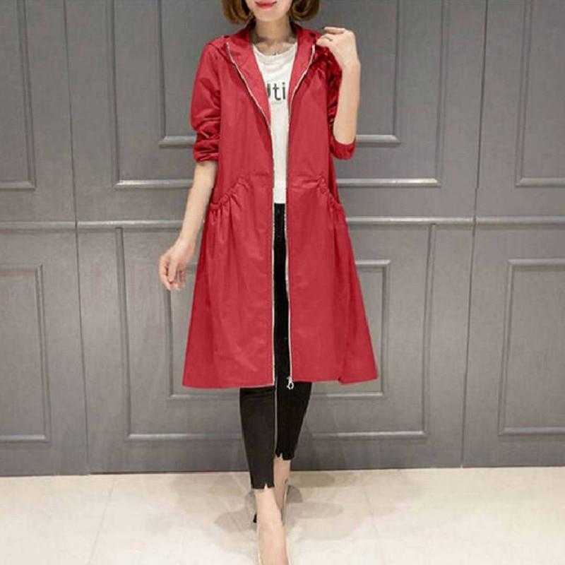 Hooded Business  Women's Wear Autumn  Classic Long Trench Coat Women Casual Thin Windbreaker Female Overcoat Pullover Coat
