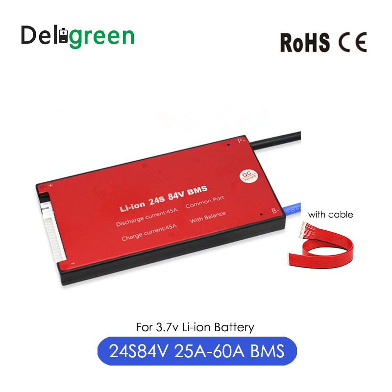 With Balance 24S 25A 35A 45A 60A 84V PCM/PCB/BMS For 3.7v 18650 Li-Po LiNCM Battery Pack On Scooter Ebike Ups