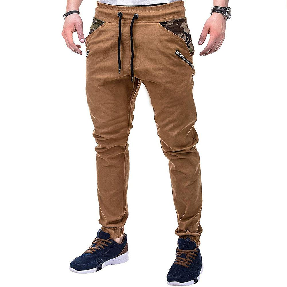 MISSKY Men Pants Streetwear Casual Large Size Camouflage Splicing Lacing Waistband Trousers Pants Pantalones Hombre Male Pants