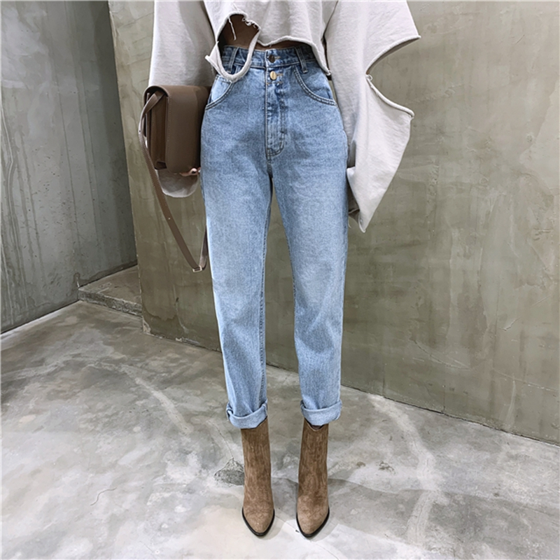 Vintage High Waist Straight Jeans Pant For Women Streetwear Loose Female Denim Jeans Buttons Zipper Ladies Jeans 2020