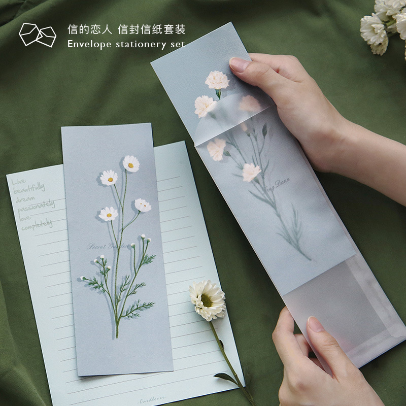 3pcs/set Birthday Letter Paper Envelope With Letter Set Flower Series Vintage Illustration Printing For Invitation Scrapbooking