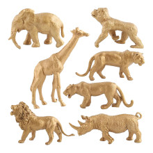 7 pçs/set PVC Figuras de Animais Selvagens Modelo de Simulação Estátua Estatueta Dourada Floresta Educacionais Brinquedos para Presente de Aniversário de Criança