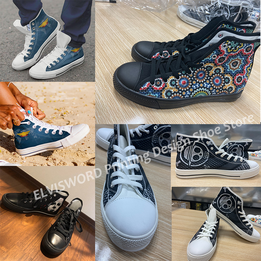 Купить с кэшбэком ELVISWORDS Female Vulcanize Shoes The Nightmare Before Christmas Skellington and Sally Printed Breathable Canvas Sneakers