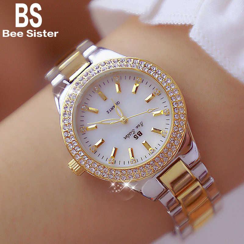 2019 marque de luxe dame cristal montre femmes robe montre mode or Rose Quartz montres femme en acier inoxydable montres 2018
