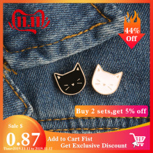 2 pz/set Caldo Del Fumetto Sveglio del Gatto Animale Smalto Spilla Spille Distintivo Decorativo di Stile Dei Monili Spille Per Le Donne Regalo(China)