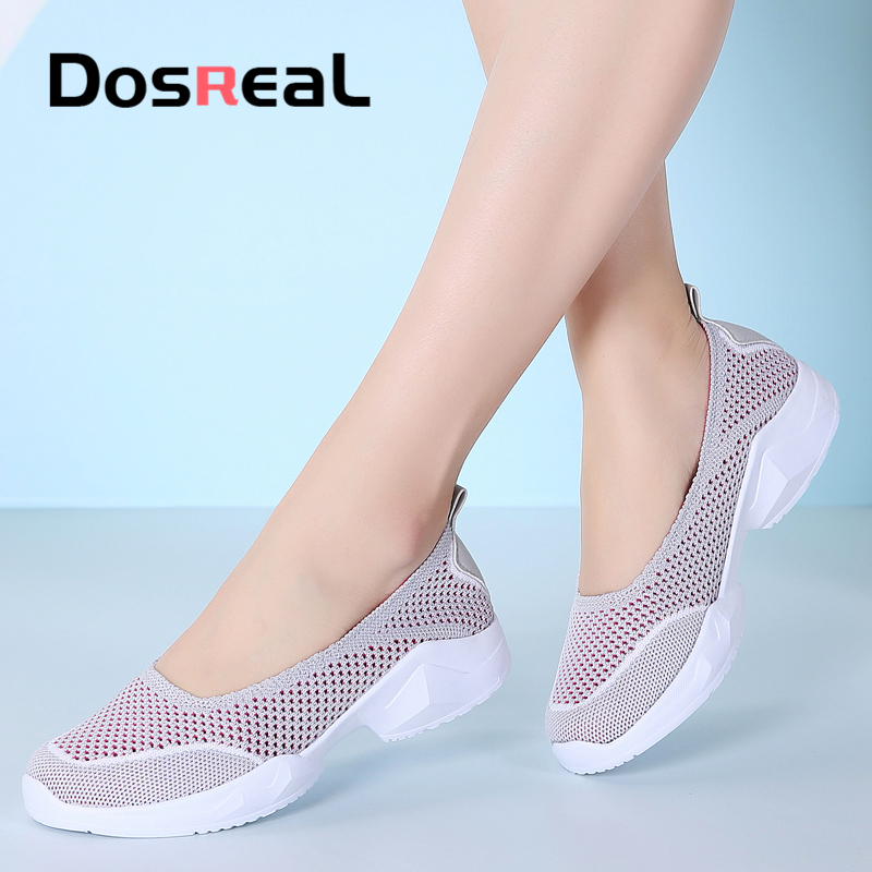 Dosreal New Arrival Women Fashion Flats Shoes Summer Breathable Shallow Sneakers Shoes Cute Slip On Walking Shoes For Female