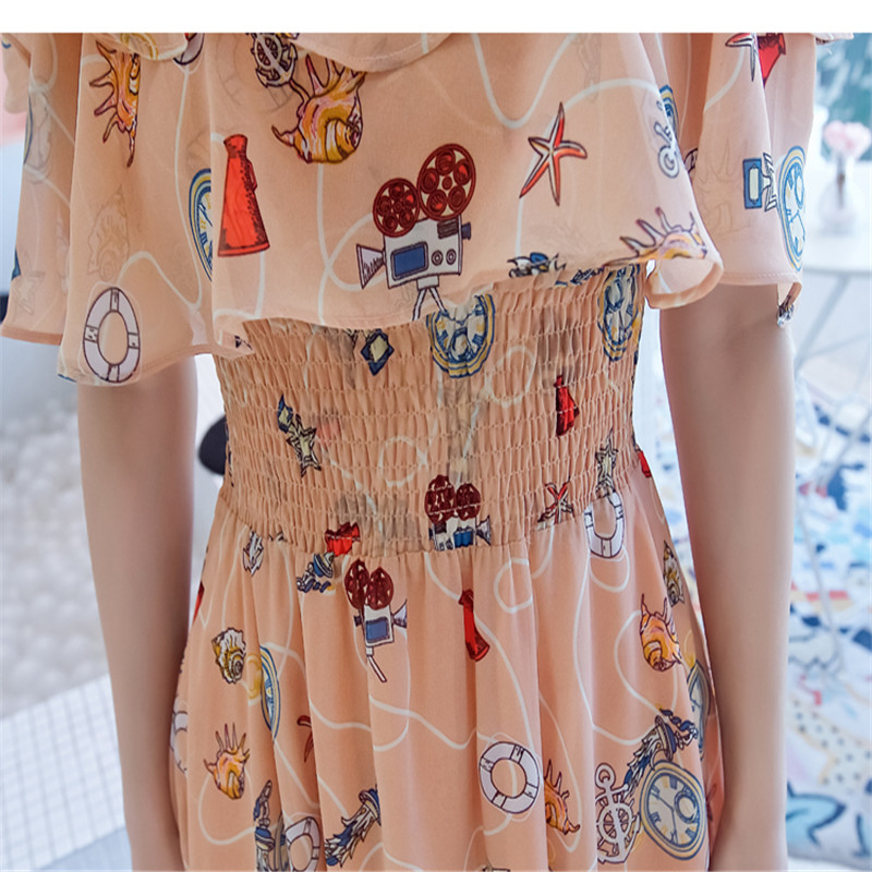 2021 Summer New Chiffon Floral Printed Dress Fashion Temperament Off-shoulder Ruffled Sleeves Long Dresses Female LR1435 6