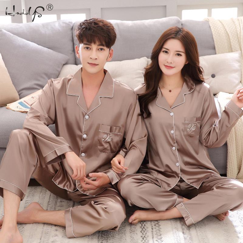 2020 Luxury Pajama suit Satin Silk Pajamas Sets Couple Sleepwear Family Pijama Lover Night Suit Men & Women Casual Home Clothing 1