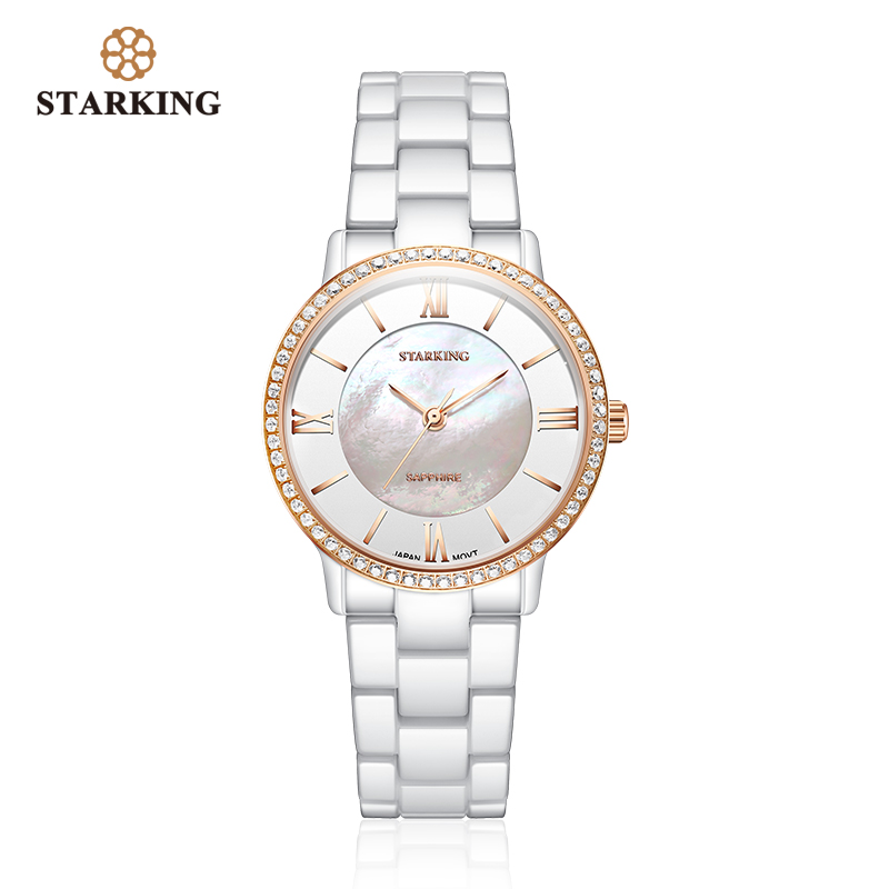 STARKING Luxury Women Watches White Ceramic Diamond Ladies Watch Gift Sapphire Quartz Wristwatch Relogios Femininos Clock