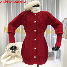 ALPHALMODA Winter New Arrived Women Twisted Sweater Dress Si