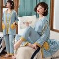 3 шт./компл., хлопковые пижамы для кормящих мам, костюмы для кормления грудью, халат для беременных женщин, одежда для кормления, одежда для сн...