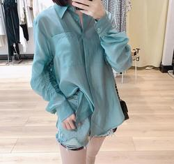Summer 2020 new loose and thin sunscreen maa1 clothing texture stand-up collar shirt female top K7JD11-01-31