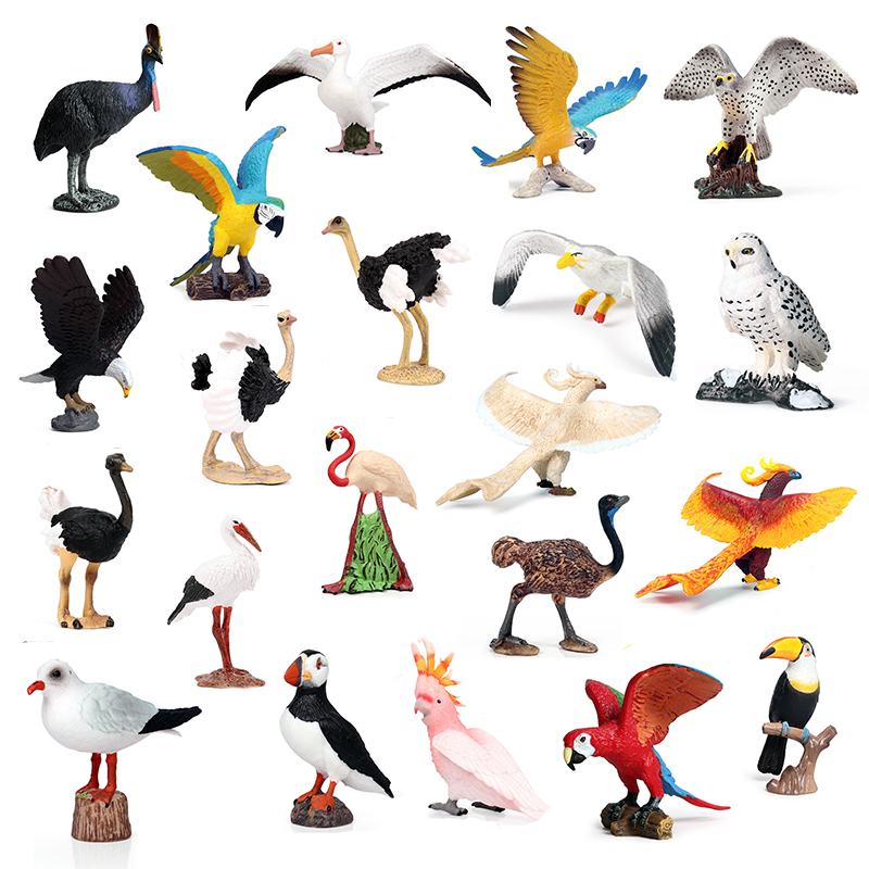 Mini Birds Series Set Action&toys Figure Animal Birds Collection Parrot Flamingo Woodpecker Pvc Model Collectible For Kid Gift