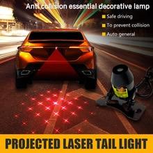 цена на CARCTR Car Fog Light Warning Light Anti Collision Rear-end Pattern Projection Laser Tail Fog Lamp Car Modified Brake Lamp 1 Set