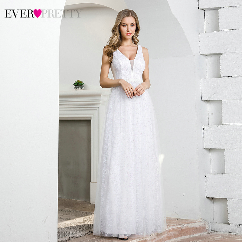 Elegant White Wedding Dresses Ever Pretty EP00604CR A-Line Double V-Neck Sleeveless Sequined Tulle Dot Formal Bride Gowns 2020