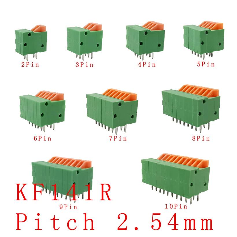 5 шт., прямые/Изогнутые коннекторы для печатной платы KF141R KF141V 2,54 мм, 2/3/4/5/6/7/8/9/10 Pin, клеммные колодки, зеленые