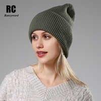 2020 Neue Winter Einfarbig Wolle Stricken Beanie Frauen Mode Lässig Hut Warme Weibliche Weiche Verdicken Sicherungs Kappe Slouchy Motorhaube ski