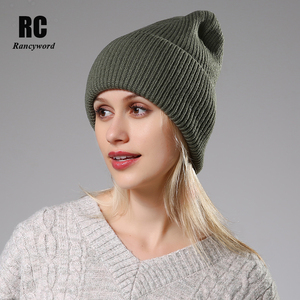 Image 1 - 2020 New Winter Solid Color Wool Knit Beanie Women Fashion Casual Hat Warm Female Soft Thicken Hedging Cap Slouchy Bonnet Ski