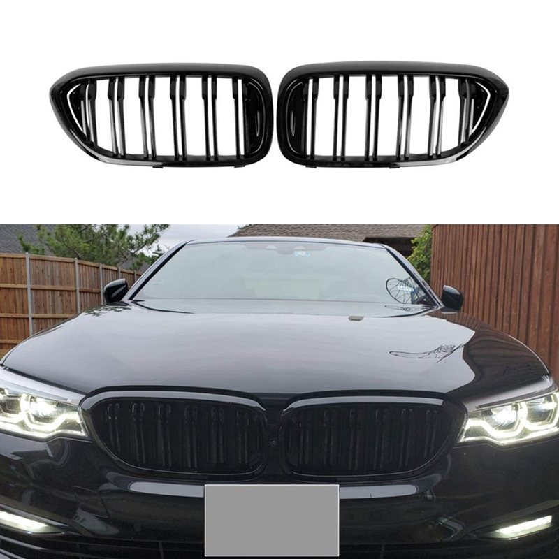 Front Bumper Kidney Grille Grill for BMW G30 G31 G38 5 Series 525I 530I 540I 550I with M-Performance Black Double Line Kidney Gr