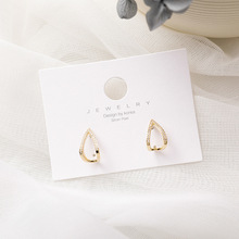 цена на Simple geometric zircon inlaid hollow water drop shaped earrings girls like geometric metal earrings