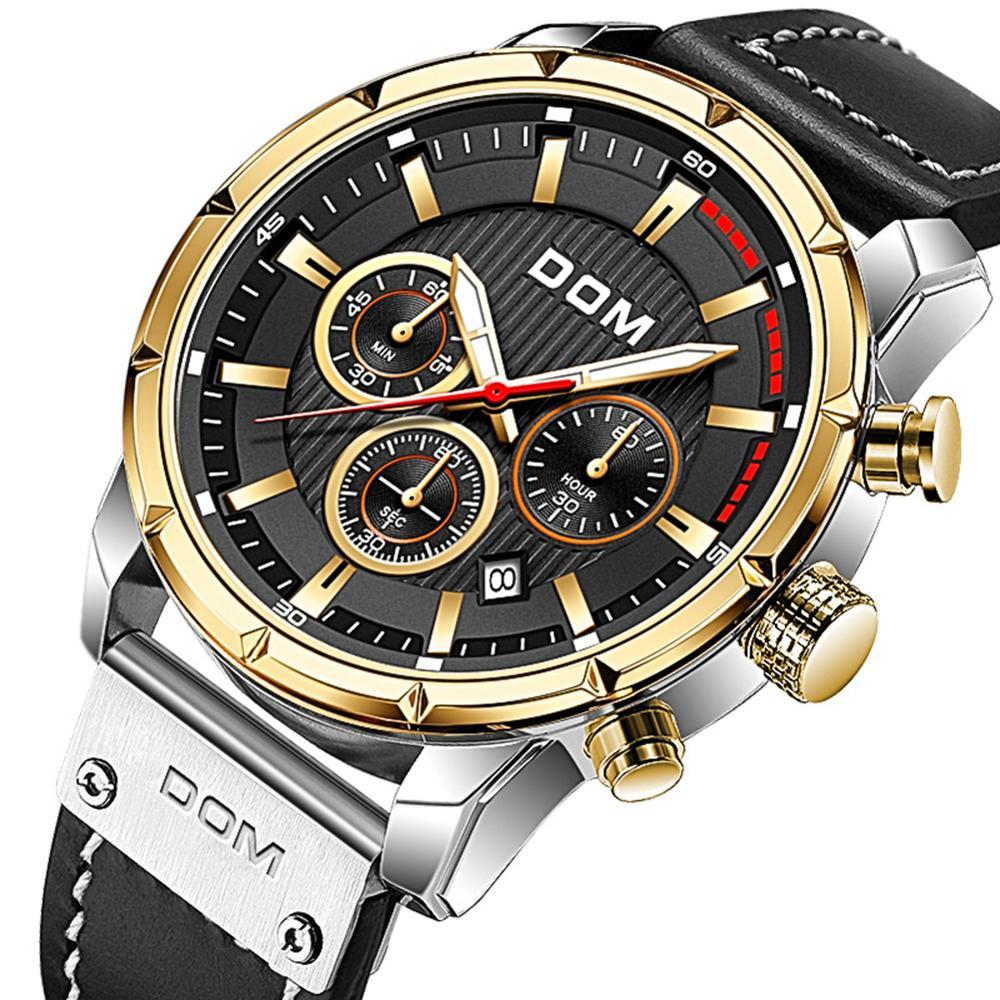 DOM Sapphire Sport Watches for Men Top Brand Luxury Military Leather Wrist Watch Man Clock Chronograph Wristwatch M-1320GL-5M 6