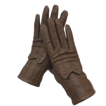 Gloves 2020 new ladies sheep leather gloves yellow brown fashion winter warmth beautiful free shipping genuine d