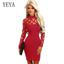 YEYA Women Fashion Openwork Burnt Flower Bandage Dress Sexy Long Sleeve Hollow Out Hole Bodycon Femme Elegant Party Wear