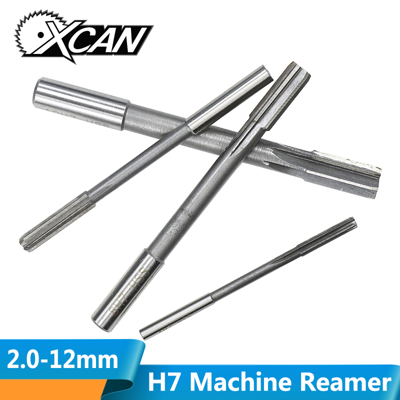 XCAN 1pc H7 2.0-12mm High Speed Steel Machine Reamer Milling Reamer Straight  Chucking Reamer