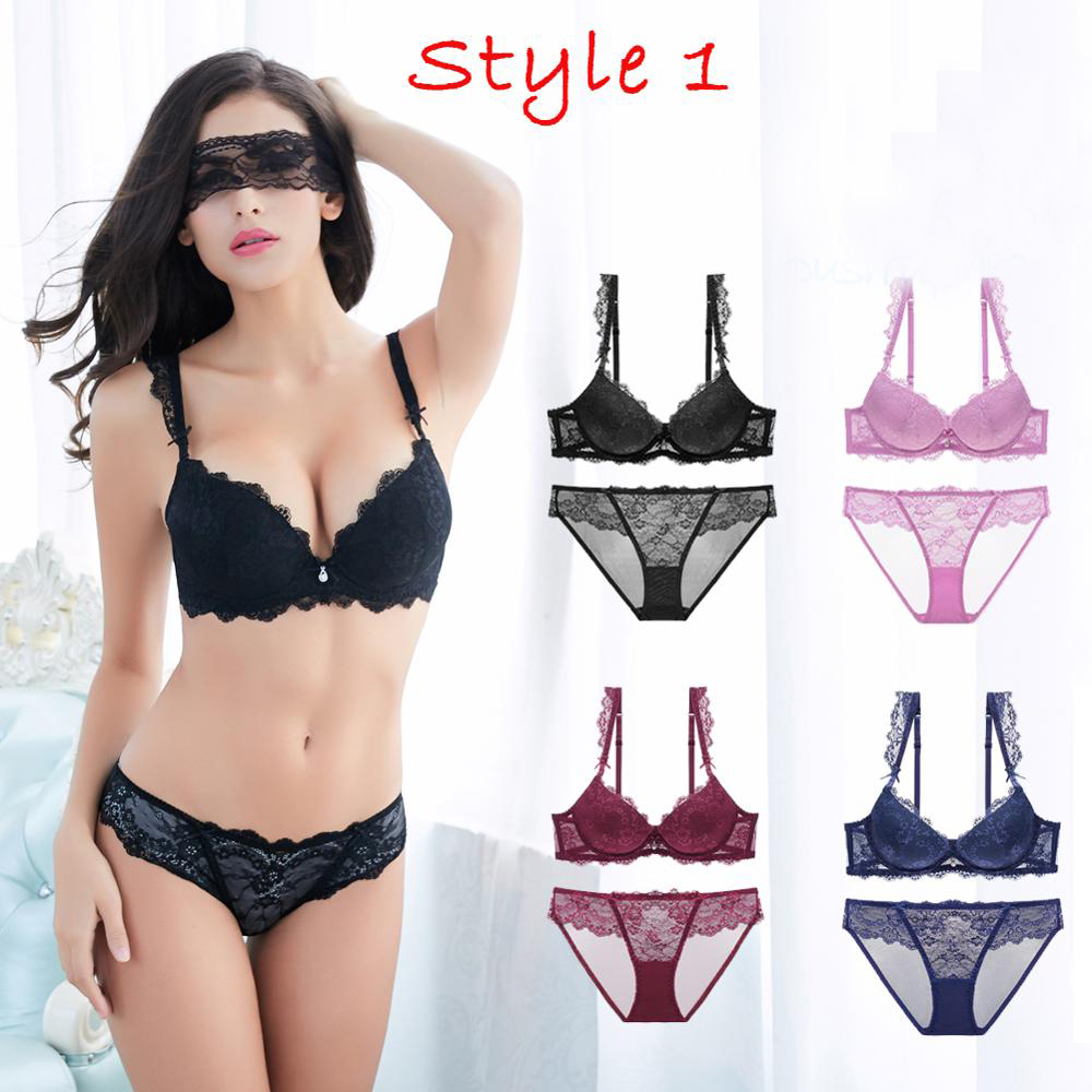 Sexy Women Lingerie Set Push-up Bra Set 3/4 Cup Brand Green Lace Underwear Set  Women Deep V Brassiere Black