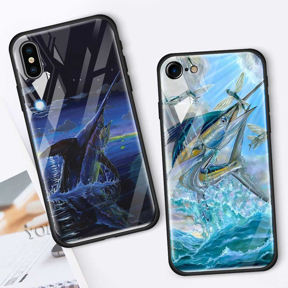 Carp Fishing Fitted Case For Apple Iphone 11 Pro XR X XS MAX 6 6S 7 8 Plus Black Soft Edge Tempered Glass Phone Cover