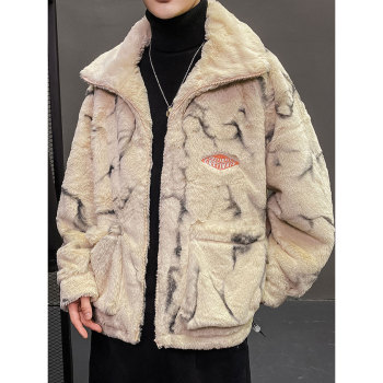 LINDSEY SEADER Mens Fleece Faux Fur Thin Parkas Jacket Winter Fashion Warm Coat Casual Outwear Streetwear Thin Coat Clothing